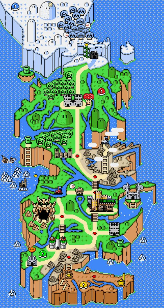 Super Westeros World  -redditor Titan413 reworked the world map from Super Mario World into everyone's favorite fantasy dystopia.