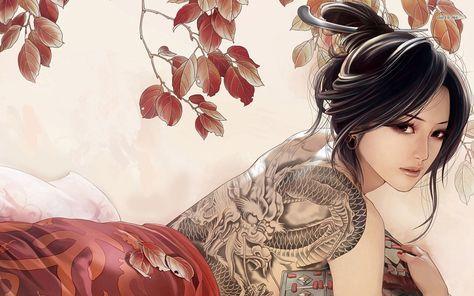 Beautiful Tattoo Girls Art Anime Wallpaper Best Hd Wallpapers Seni Jepang Gambar Awan