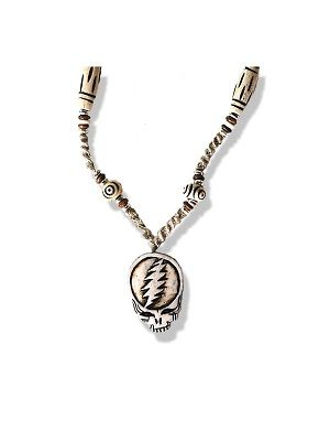 """Grateful Dead Steal Your Face Hemp Necklace  A grateful Dead necklace with a Stealie and other beads made from bone. Necklace is made from hemp and it's approximately 22"""".  Officially licensed Grateful Dead merchandise. #sunshinedaydream #hippieshop"""