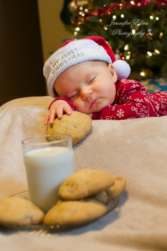 Owen - 3 months old  Christmas photo shoot Waiting for Santa Cookies and milk Sleeping baby Indoor photography:
