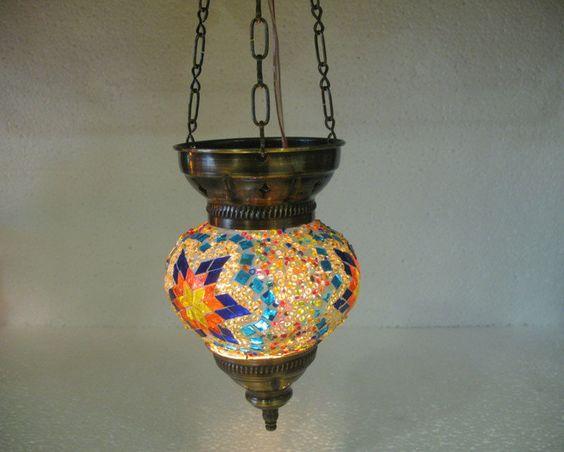 Colorful lantern türkische mosaik lampe glass candle holder hanging Lamp 06 #Handmade #Moroccan
