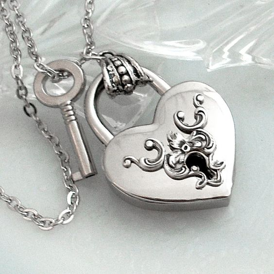 Heart lock and key.  Silver heart lock necklace.  Valentines Day gift.