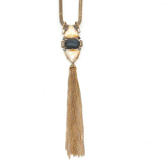 Crystal art deco metal chain tassel drop necklace