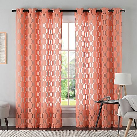 VCNY Aria 95-Inch Window Curtain Panel in Coral | Style ...