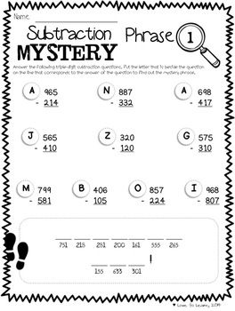 Math Mystery Phrases without Regrouping (3-Digit) | Pinterest ...