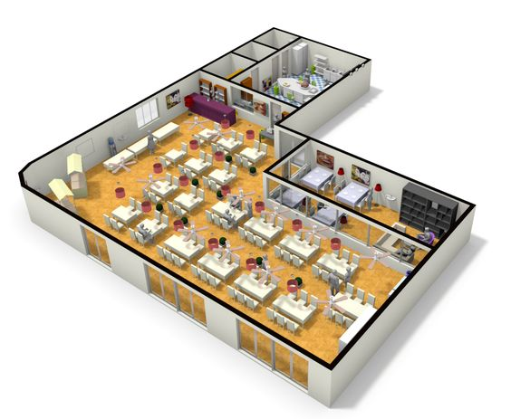 3d plan of large restaurant from floorplanner layout