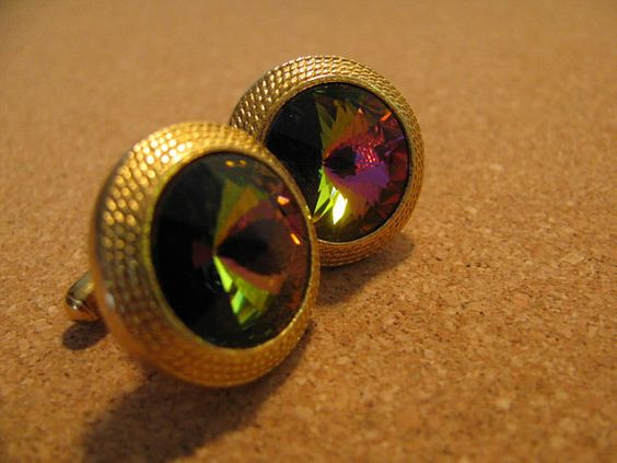 Watermelon Heliotrope Rivoli Cuff Links by ToadSuckTreasures, $25.00