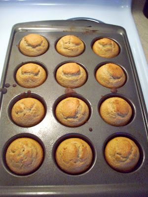 Flourless Gluten-Free Banana Oatmeal Muffins- use 1/4 honey instead of sugar (or 2 TBS Stevia)