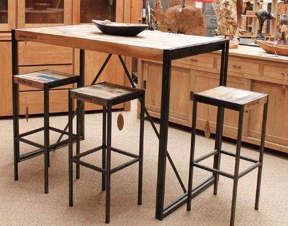 mange debout en fer poli et vieux bois de bateau de la collection factory idees deco. Black Bedroom Furniture Sets. Home Design Ideas
