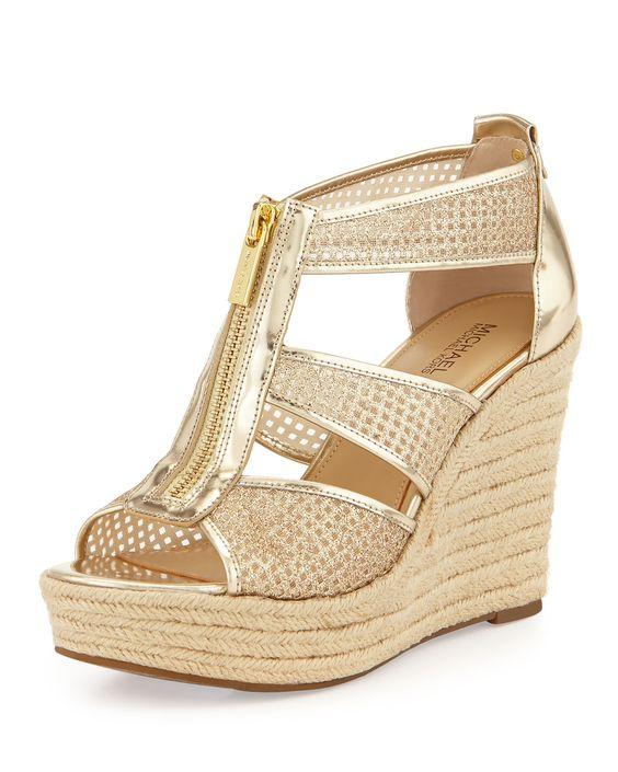 MICHAEL Michael Kors Damita Metallic Zip-Front Wedge Sandal, Pale Golden, Size: 35.5B/5.5B, Pale Gold