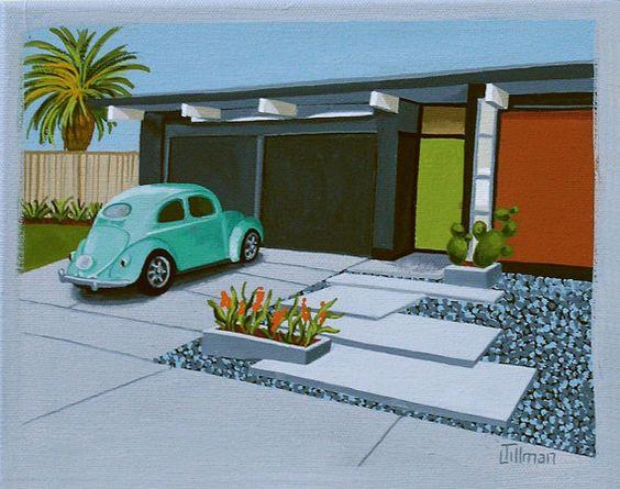 Mid Century Modern Eames Retro Limited à tirage de peinture Original VW Beetle maison sur Etsy, 22,31 €