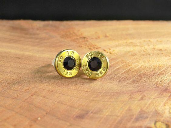 223 Brass Bullet Stud Black Crystal by DebsArtisanJewelry on Etsy