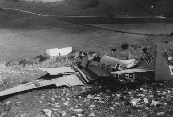 Crashed German Bf 109 fighter, Italy, circa 1940