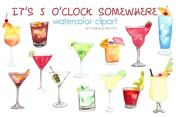 Watercolor Clip Art - Beverages by Maria B. Paints on Creative Market
