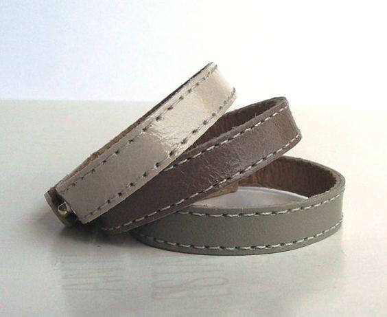 set of three shades of grey leather bracelets $12.80