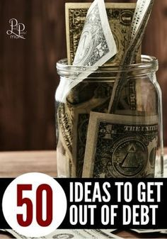 Wondering how to get out of debt? Check out these 50 ideas to help you get out of debt and actually pay it off!!