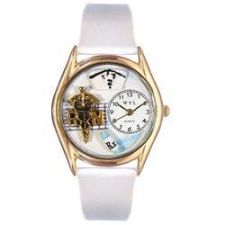 RN White Leather And Goldtone Watch - http://www.artistic-watches.com/2012/11/02/rn-white-leather-and-goldtone-watch/