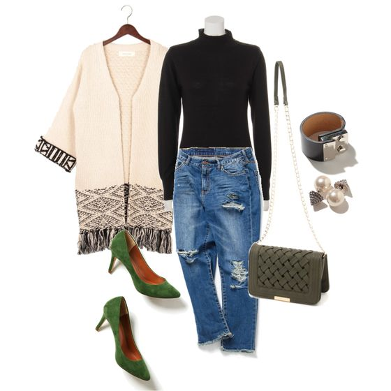 お気に入りのカーディガン stylist:chie denim knit white cardigan ponte fashion outfits coordinate