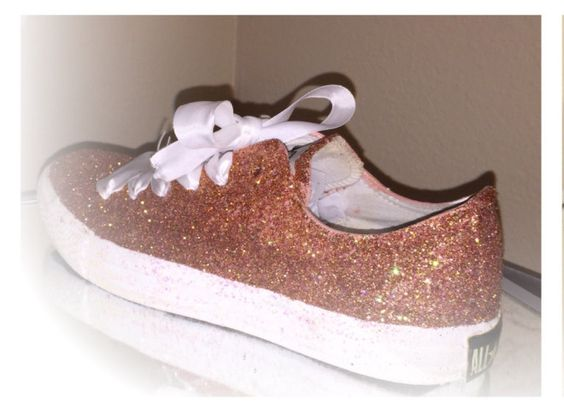 womens rose gold sparkly glitter converse all star chucks