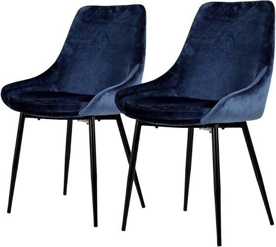 Samt Stuhl Blau Stuhle Polsterstuhl Essstuhle