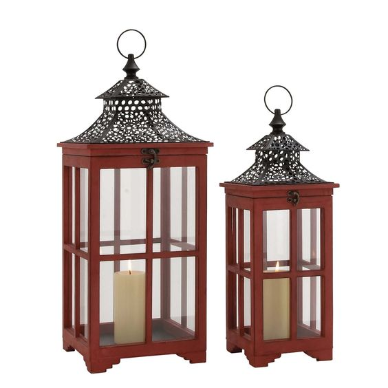 Woodland Imports 50295 The Beautiful Wood Metal Glass Lantern - Set of 2