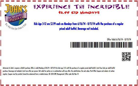 John's Incredible Pizza coupon for $2.99 Kid Mondays via Yipit - http://yipit.com/business/johns-incredible-pizza/299-kid-mondays/