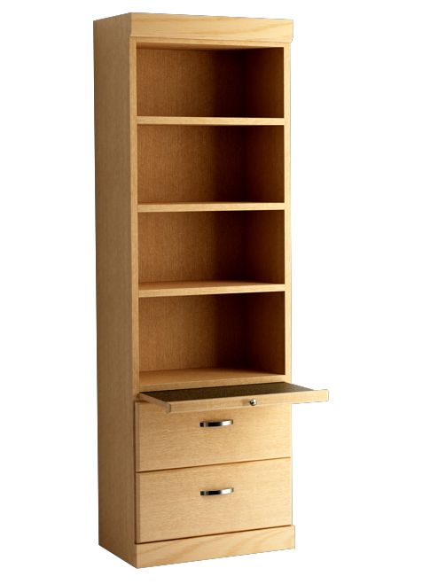 Shaker Style Bookcase with Bottom Drawers in Oak - Honey Finish.  Shown with Pullout Table Open
