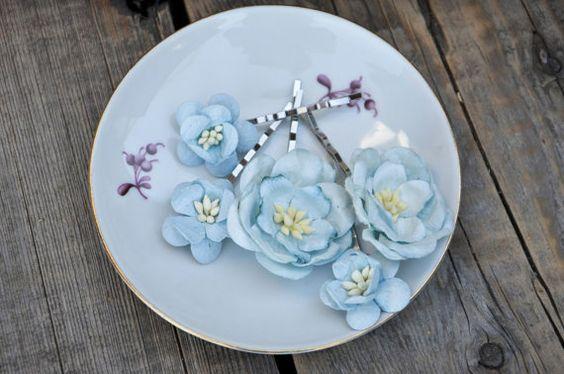 Bridal hair clips Blue pins Wedding flower by FaberAccessories