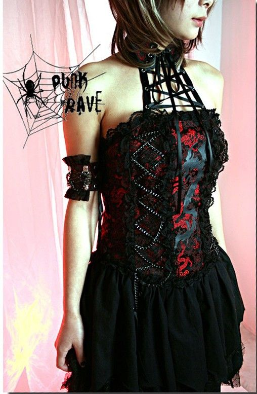 punk goth dress | Visual Punk Gothic Lolita Lace Dress