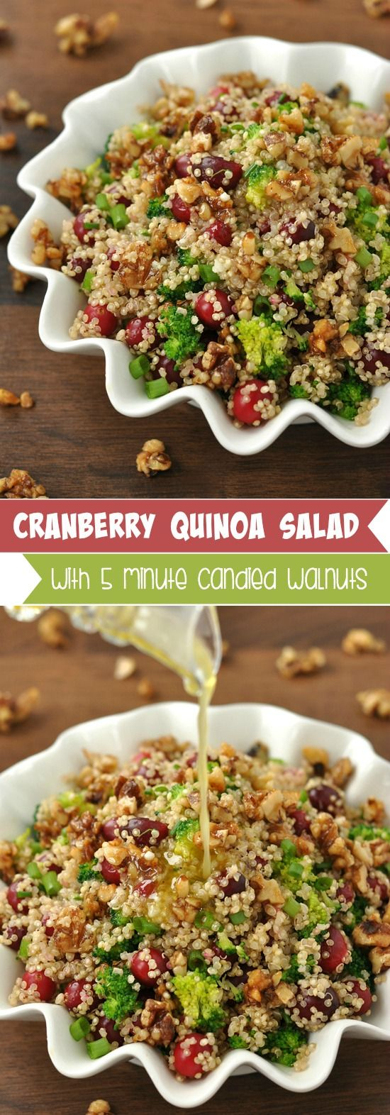 Cranberry Quinoa Salad with fluffy quinoa salad is spiked with juicy cranberries, vibrant veggies and topped with homemade honey and brown sugar walnuts! This recipe is colorful and delicious! #glutenfree #cranberry #quinoa #salad