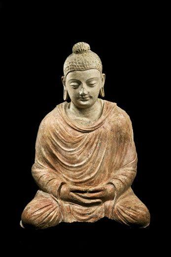 Stucco Seated Buddha. Northwest Pakistan, Gandhara, 4th-5th century