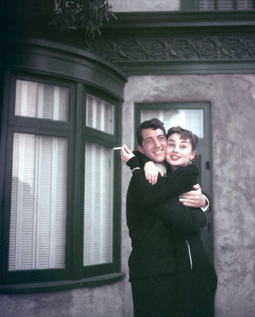 Dean Martin and Audrey Hepburn on the set of Sabrina (1954)