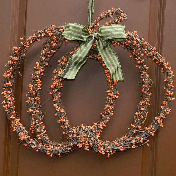 Pumpkin Wreath - Fall Wreath - Berry Wreath. $49.00, via Etsy.