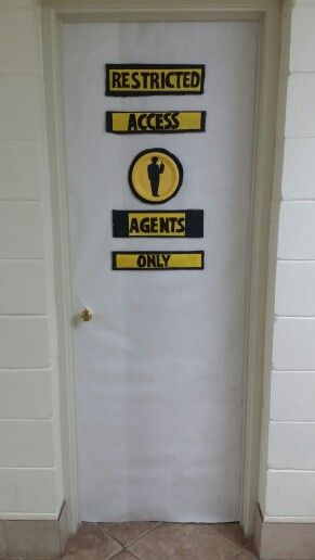 Agency d3 vbs bathroom door decor girl agents only boy for Bathroom door decoration ideas