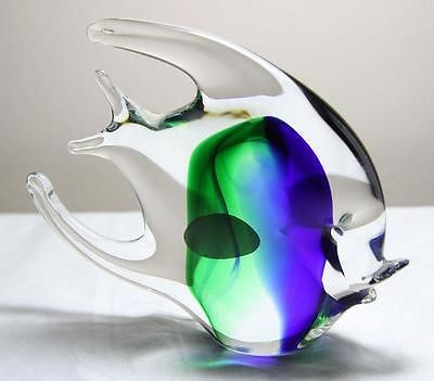 Gorgeous Authentic Murano Angel Fish w/Label Blue/Green