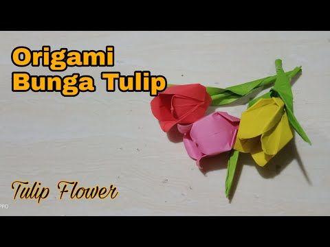 Origami Bunga Tulip Tulip Flower Youtube Bunga Tulip Bunga Origami