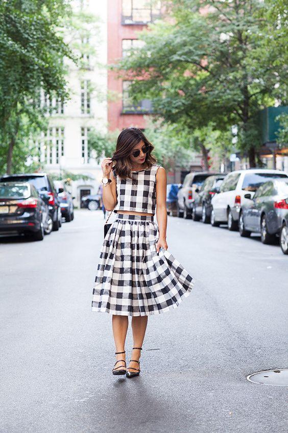 Black & White Check Crop Top & Midi Skirt | via This Time Tomorrow