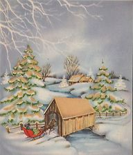 Vintage Greeting Card Christmas Old-Fashioned Horse & Sleigh Covered Bridge v400