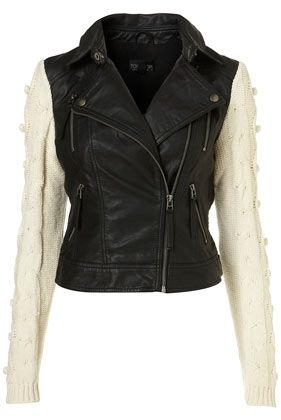 Black Knitted Sleeve Faux Leather Biker Jacket