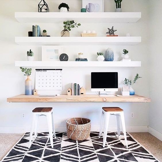 Home Office With Thick Open Ikea Lack Shelving Floating Shelves Diy Desks For Small Spaces Home Office Decor