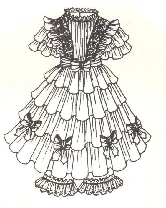 "Period French German Victorian Dress PATTERN for a 17"" to 19"" Doll"