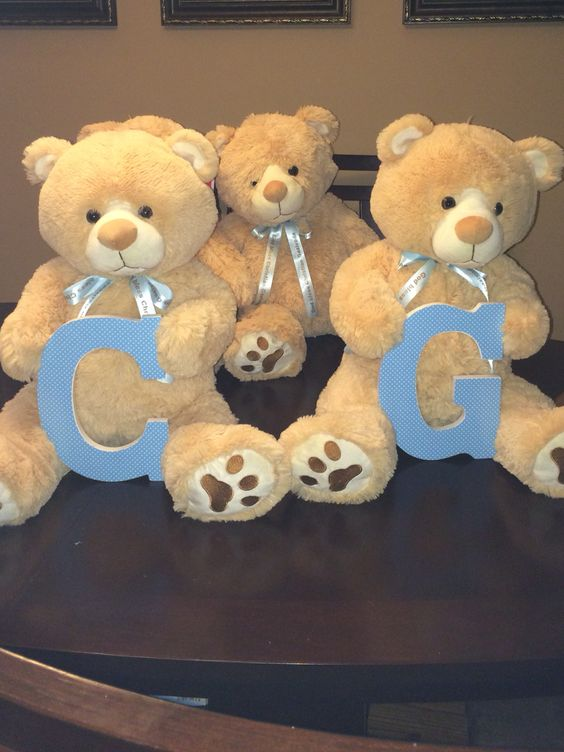 Teddy bear centerpieces from my sons baptism party
