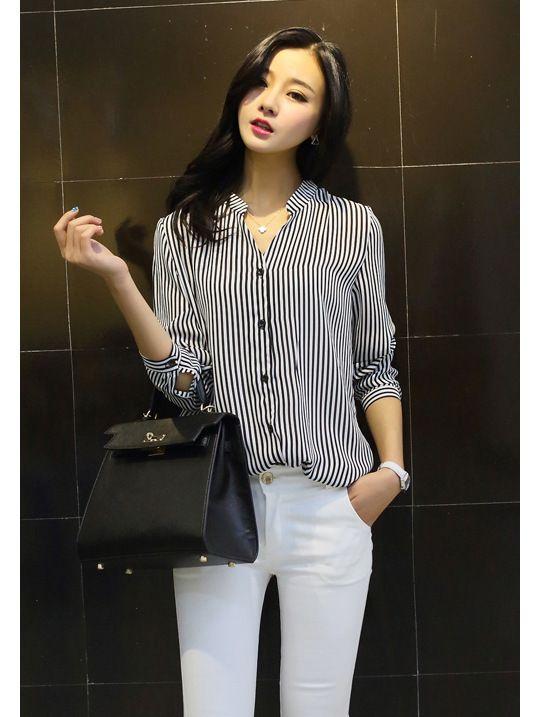 Купить товарYomsong 2015 новый с длинным рукавом женщины шифон рубашки блузки корейский профессиональный женский синий и белый полосатый в категории Блузки и рубашкина AliExpress.  Популярные элементы: другие Ремесла: высокой температуры, настройка Цвет: синие и белые полосы (большие пятна), черные