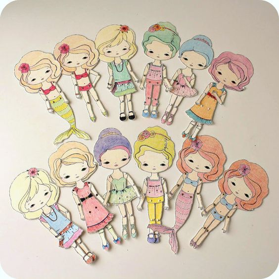 Collection of Five Colour-Your-Own Paper Dolls by Gingermelon