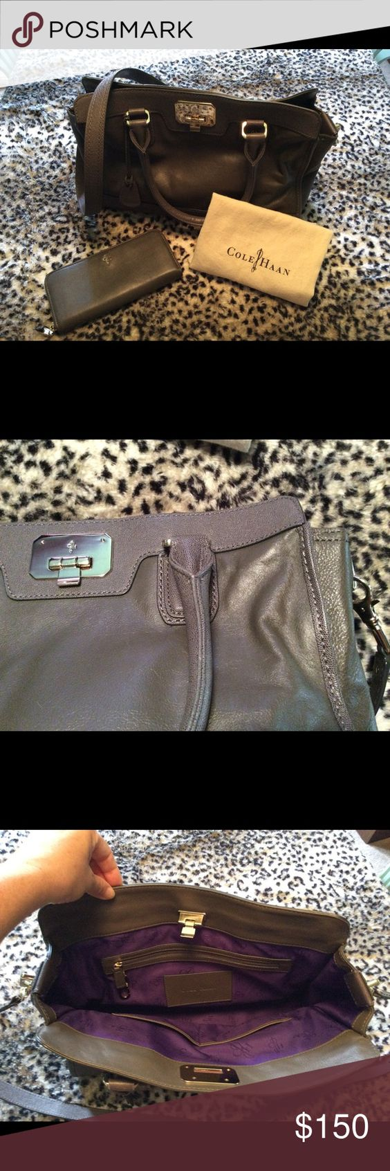 Beautiful gray satchel (wallet sold separately) Rich gray with solid brass hardware, royal purple lining, and removable extension handle that is long enough to use the bag as a cross body satchel.  This bag was very gently used for an extremely short time and is in beautiful condition.  Comes with dust bag. Cole Haan Bags Satchels