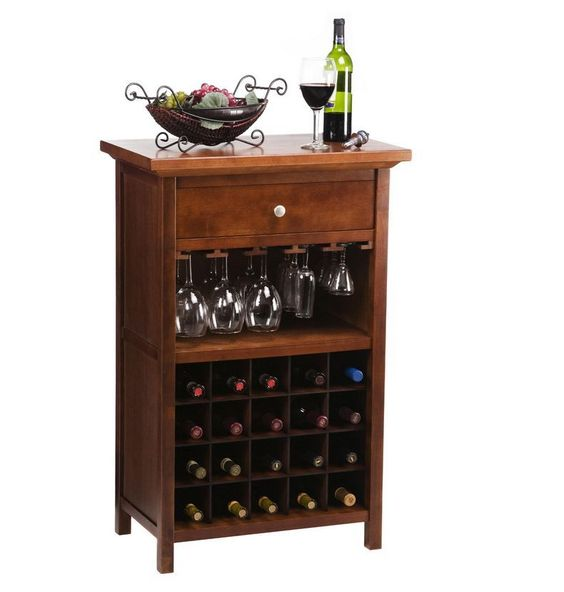 Wine rack table Glass bottles and Wooden drawers on Pinterest