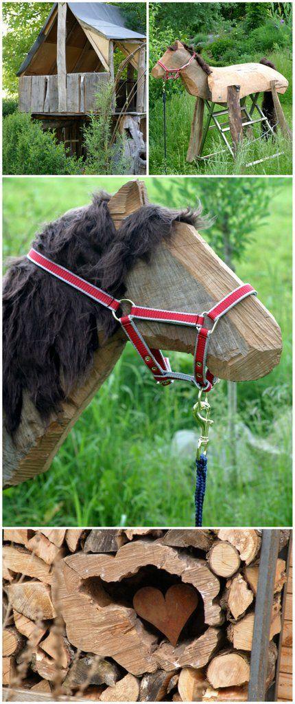 Ein Schweizer Garten DIY Wood Horse Selbstgebautes Holzpferd