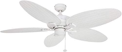 Honeywell Duvall 52 Inch Tropical Ceiling Fan Five Wet Rated Wicker Blades Indoor Outdoor White A In 2020 Tropical Ceiling Fans Ceiling Fan Ceiling Fan Makeover