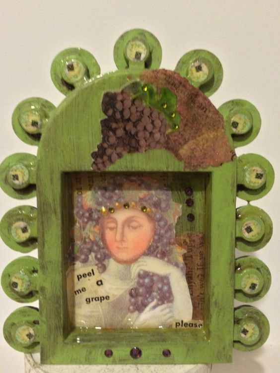 SALE - shrine - grapes - art assemblage - quote - peel me a grape shrine - green shrine - mixed media - collage - ooak - art gift - humor by DianaDDarden on Etsy