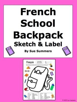 french school backpack sketch and label activity class objects activities summer and school. Black Bedroom Furniture Sets. Home Design Ideas